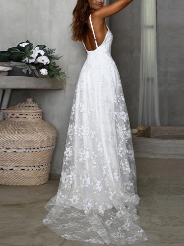 Sexy V neck condole belt lace long vacation dresses
