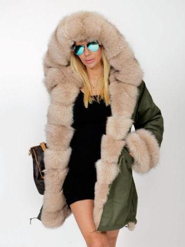 Woman Long Hooded Fur Coats
