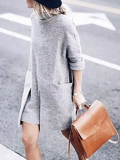 Gray Knitted Solid Turtle Neck Long Sleeve Dress