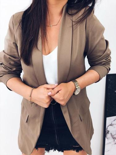 Plain Lapel Autumn Office Lady Chic Woman Blazer