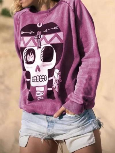 Loose long sleeve printed sweatshirts