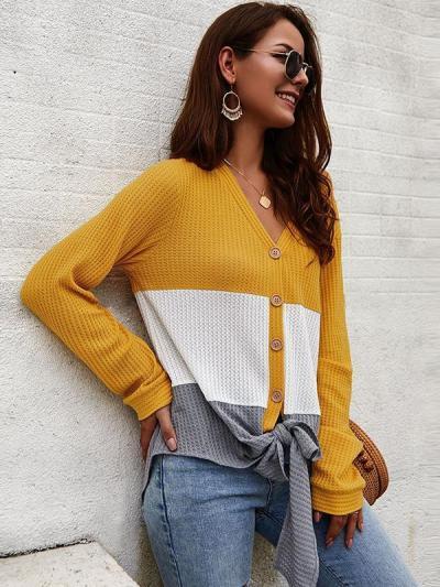 Women v neck splice chic button knit sweaters