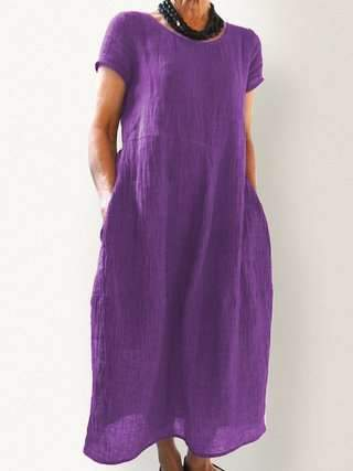 Pure Casual Round neck Short sleeve Pocket Maxi Dresses