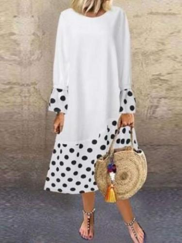Casual Loose Gored Point print Long sleeve Round neck Maxi Dresses