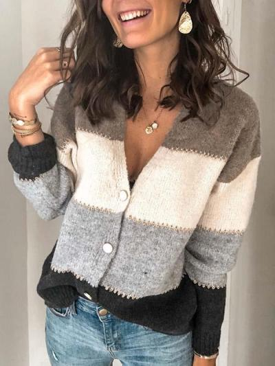 Stylish stiped single-breasted blouse sweaters