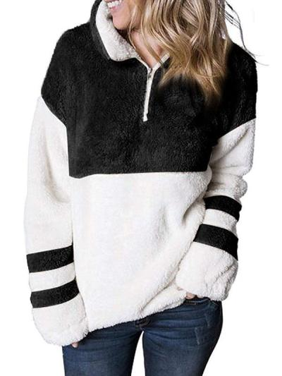Loose high neck women Velvety zipper long sleeve sweatshirts