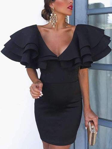 Sexy Deep V Neck Plain Flouncing Lotus leaf sleeve Bodycon Dress