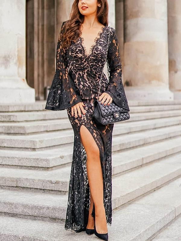 Women secy black lace backless long sleeve evening dresses