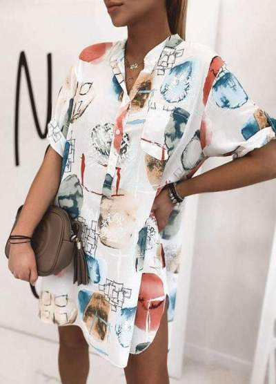 Fashion Casual Print V neck Short sleeve Shift Dresses