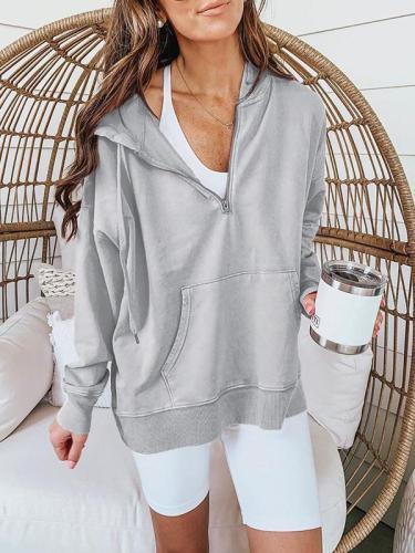 Fashion gray long sleeve zipper pocket hoodied