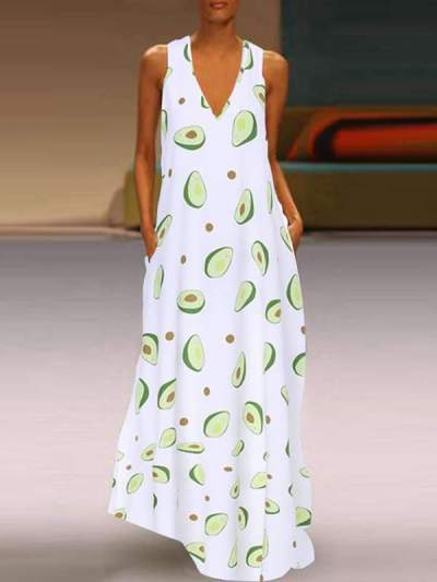 Women Avocado Printed V Neck Sleeveless Long Maxi Dresses