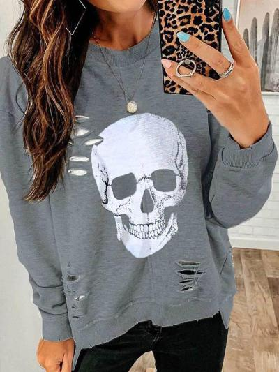 Ripped skull-head fashion hoodie for ladies