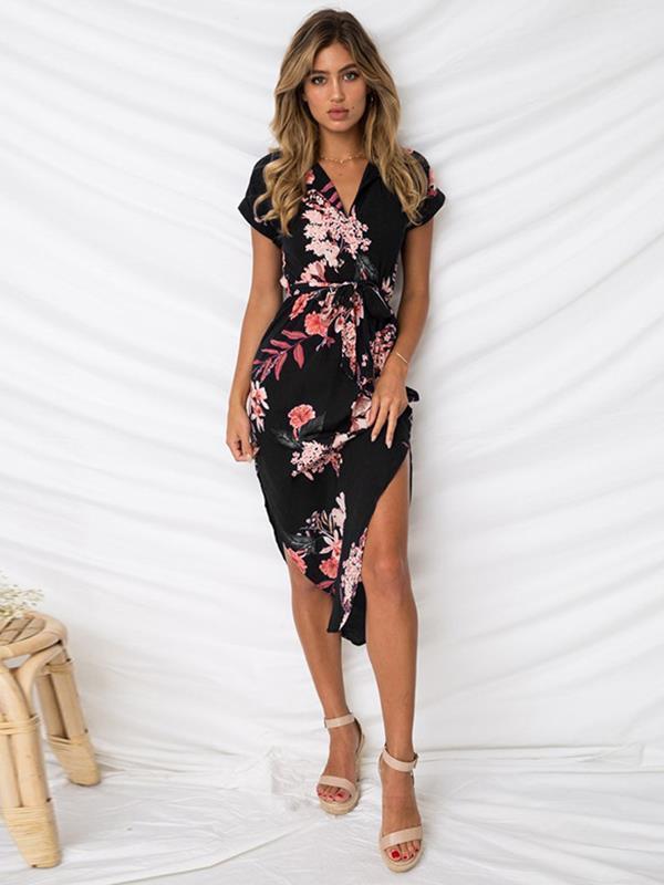 Sexy v-neck floral printed  long maxi dresses