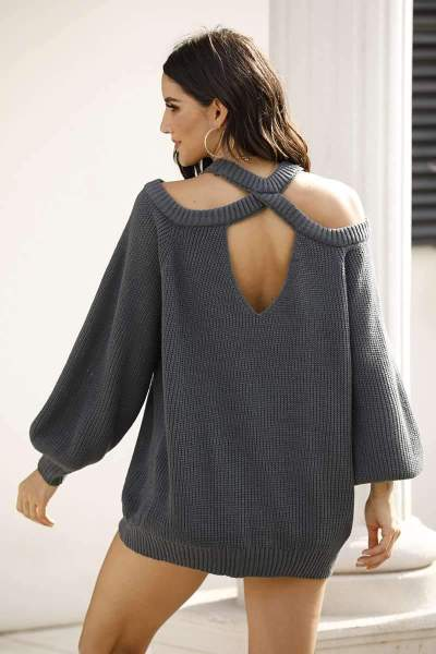 Casual Loose Pure Round neck Off shoulder Long sleeve Knit Sweaters