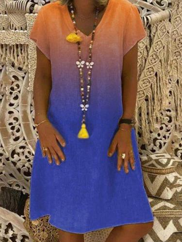 Gradient fashion printed short sleeve v-neck shift dresses