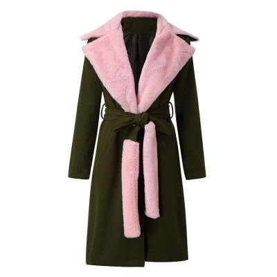 Fashion Lapel Long sleeve Plush Belt Coats