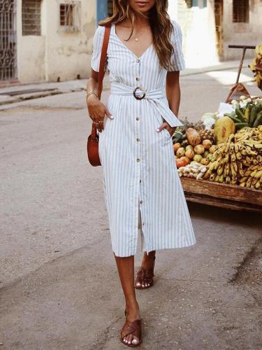 V neck Stripe Plain Women Button Design Long Maxi Dresses
