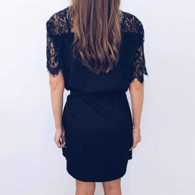 Fashion Lace Gored V neck Lacing Shift Dresses