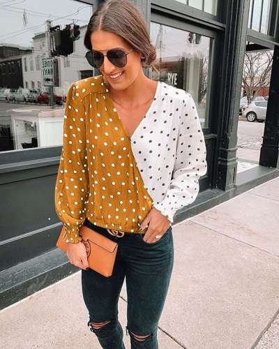 Sexy V neck Gored Point Long sleeve Blouses