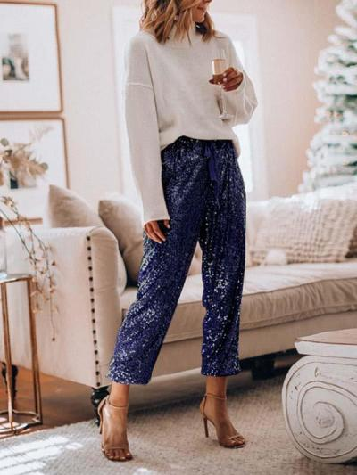 Baggy flounces and sequins leg slacks long pants