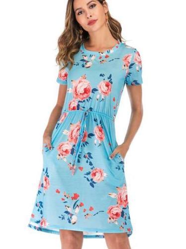 Fashion Print Lacing Short sleeve Skater Dresses