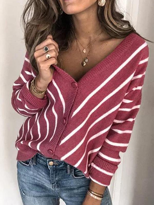 Women v neck knit stripe long sleeve sweaters