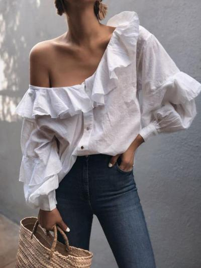Stylish Women Chic One off shoulder white blouses