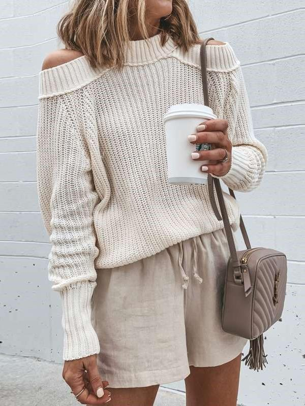 Fashion Loose High collar Off shoulder Sweaters
