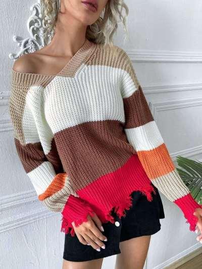 Fashion Casual Stripre V neck Long sleeve Macrame Sweaters
