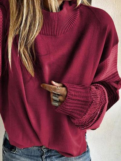 Women round neck warm long sleeve sweaters