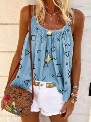 Fashion Casual Print Round neck Sleeveless T-Shirts