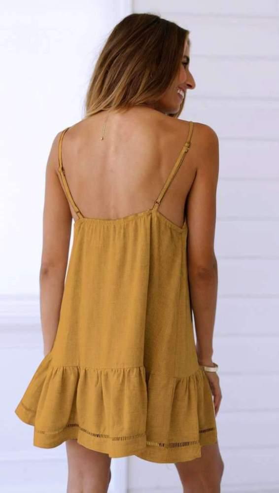 Casual V neck Backless Vest Shift Dresses