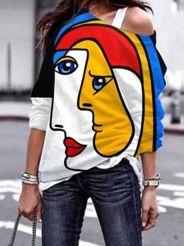 Stylish Graffiti-printed one off shoulder long sleeve T-shirts