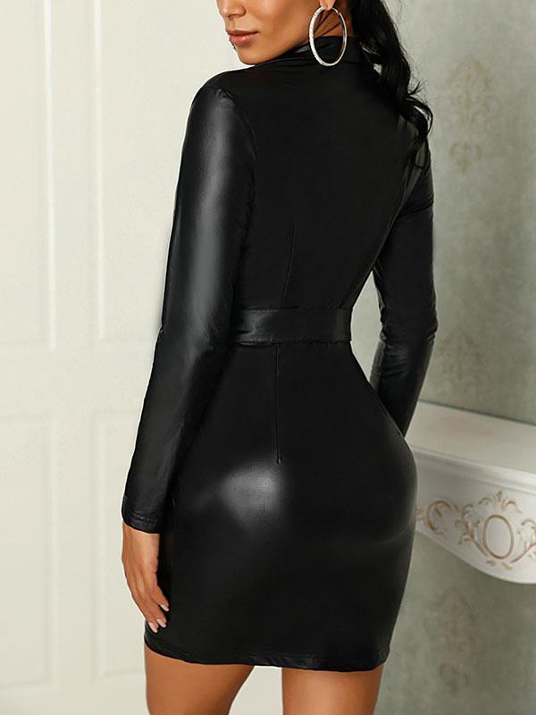 Sexy black long sleeve slim zipper bodycon dresses