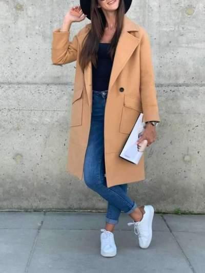Simple Pocket Solid Color Woolen Coats