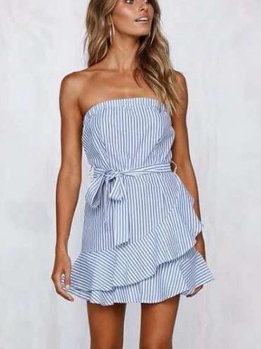 Fashion Stripe Lacing  Falbala Shift Dresses