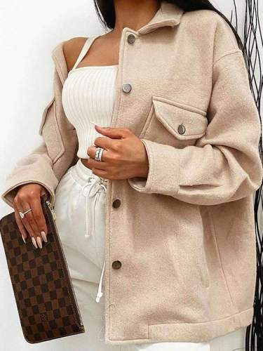 Chic plain turn down neck long sleeve pocket loose coats