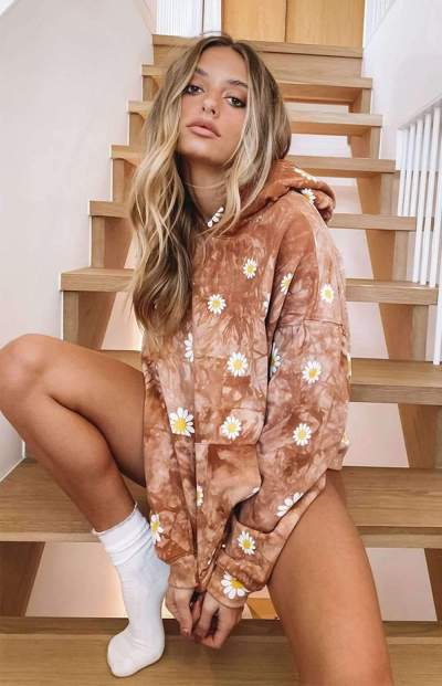 Casual Loose Print Long sleeve Hoodies Sweatshirts