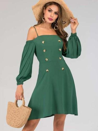 Body fit Fastener Lacing Puff sleeve Shift Dresses