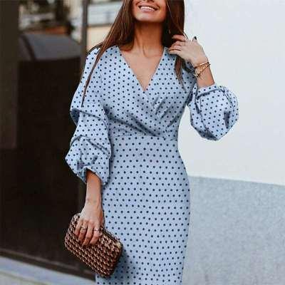 Fashion Point V neck Puff sleeve Bodycon Dresses