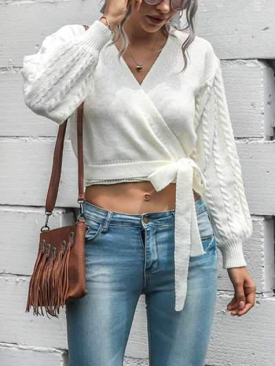 V-neck lantern sleeve sweaters one-piece lace-up cardigans