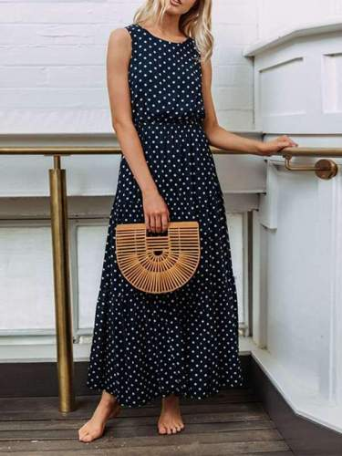 Fashion Wave Pot Sleeveless Maxi Dresses