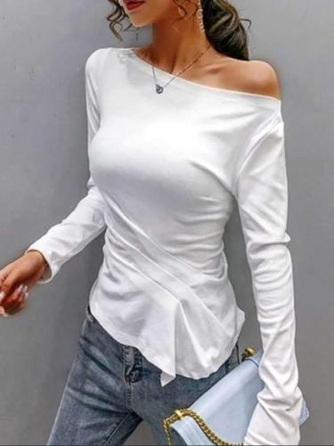 Fashion Pure One shoulder Long sleeve T-Shirts