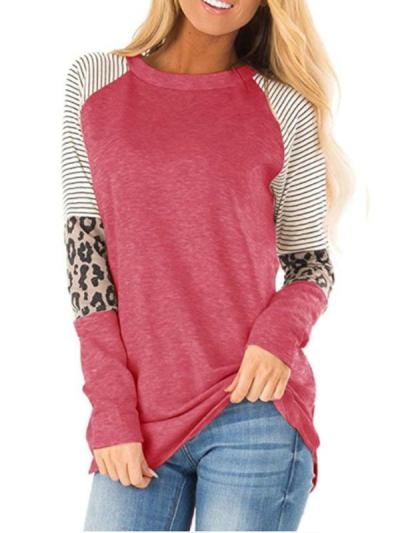 Leopard print striped round collar long sleeve T-shirts