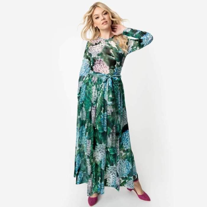Fashion Print Long sleeve Lacing Maxi Dresses