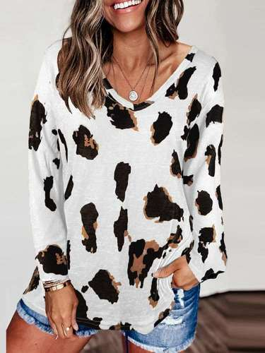 Casual Leopard print V neck Long sleeve T-Shirts