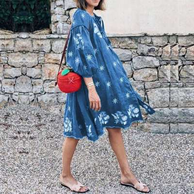Casual Loose Print Round neck Gored Shift Dresses