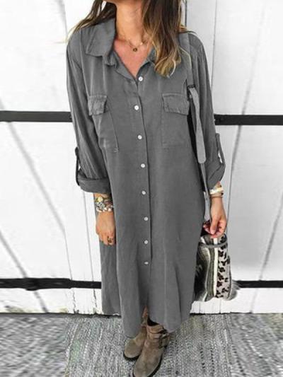 Button down long sleeve shirt shift dress