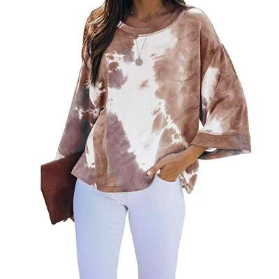 Fashion Casual Tie-dyed Round neck Long sleeve T-Shirts