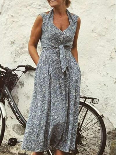Fashion Print Sleeveless Lacing Maxi Dresses